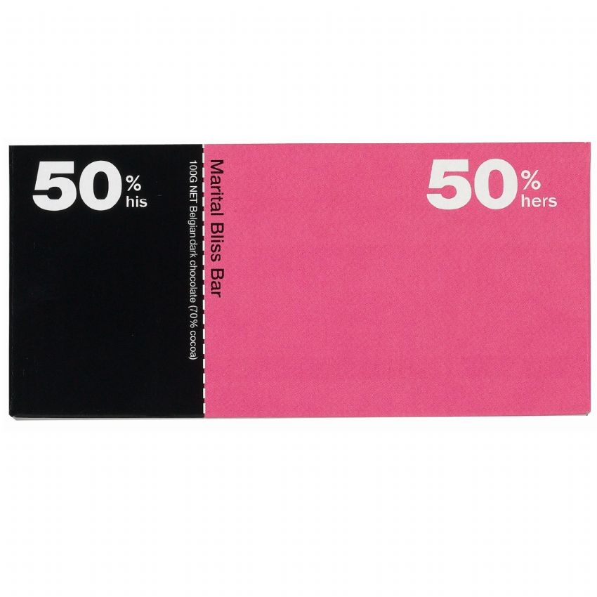50% His / 50% Hers - Dark Belgian Chocolate Bar Bloomsberry & Co 100g